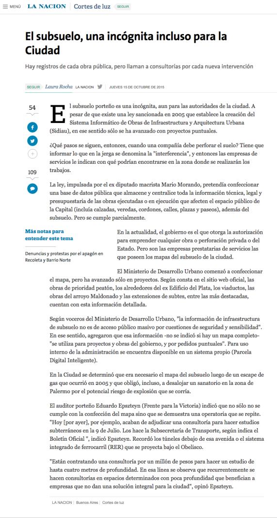 El subsuelo  una incógnita incluso para la Ciudad   15.10.2015   LA NACION